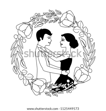 bride and groom their first dance wedding day on frame flowers portrait #1125449573