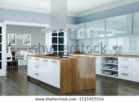 3d Illustration of a white modern kitchen interior design #1125493556