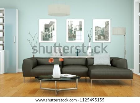 modern bright interior design appartment 3d Illustration #1125495155