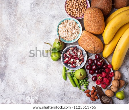 Products rich in fiber. Healthy diet food. Top view Royalty-Free Stock Photo #1125513755