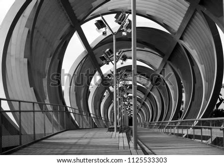 Moderm Semi-Covered Bridge in Madrid Rio #1125533303