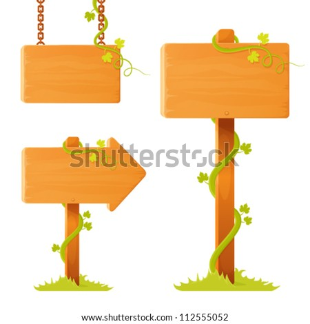 blank wooden sign board with decorative tendrils and grass