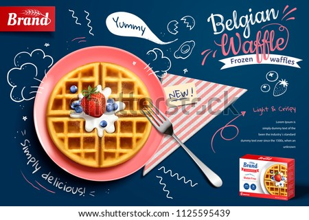 Belgian waffle ads with delicious fruit and cream in 3d illustration on blue doodle background, top view #1125595439
