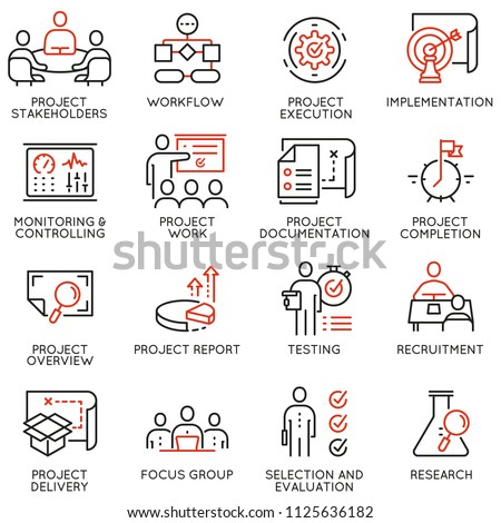 Vector set of linear icons related to project management. Mono line pictograms and infographics design elements - part 3 Royalty-Free Stock Photo #1125636182