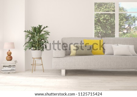 Idea of white room with sofa and summer landscape in window. Scandinavian interior design. 3D illustration #1125715424