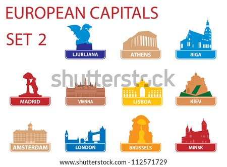 European capital symbols. Set 2 #112571729