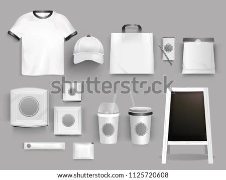Creative collection of corporate identity template with illustration of t-shirt, bag, paper cup and cap for branding or business promotional concept. #1125720608