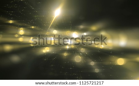 Abstract gold bokeh circles on a black background. Spectacular illustration with particles and rays. #1125721217
