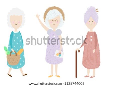 Elderly women. Happy old lady. Cartoon senior female. Grandmother shopping, standing. Retired activity. Isolated clip art