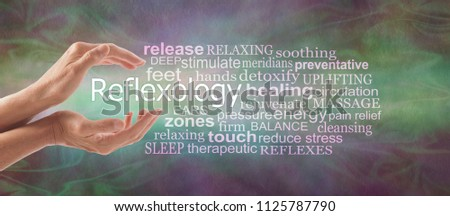 Reflexology Descriptive Word Tag Cloud Banner - female cupped hands with the word REFLEXOLOGY floating between surrounded by a relevant word tag cloud on a rustic multi coloured background  #1125787790