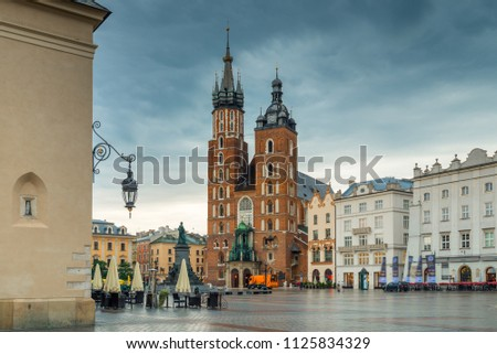 Photo of the main square of Krakow on a rainy morning #1125834329