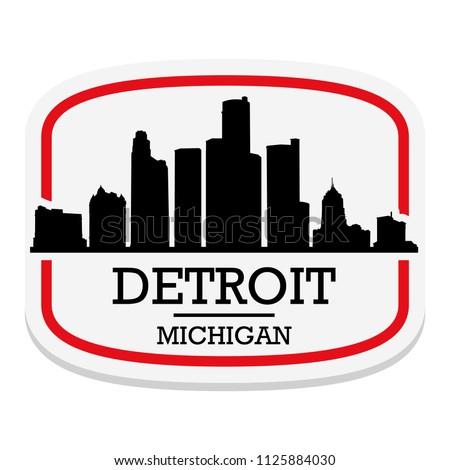 Detroit Michigan Label Stamp Icon Skyline City Design Tourism