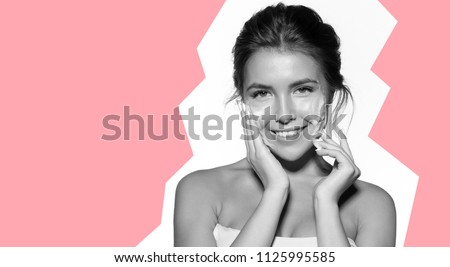 Young smiling woman with modern short hairstyle - view from back. Close up portrait of girl with blonde short hair. Portrait of attractive modern girl with playful look, isolated on white background. #1125995585