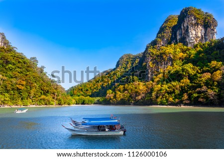 Magnificent scenery of the Kilim Geoforest Park in Langkawi, Malaysia. A few motorboats are moored in the shaded area of the river and in the background are mangrove trees and limestone hills. #1126000106