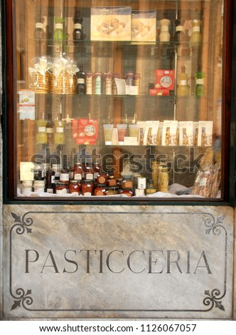 Italy, Sicily / Erice – September 18, 2009: this is the window of an old pastry shop that produces fragrant sweets in the northern part of Sicily in the town of Erice. #1126067057