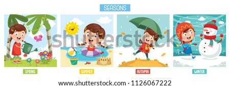 Vector Illustration Of Seasons Royalty-Free Stock Photo #1126067222
