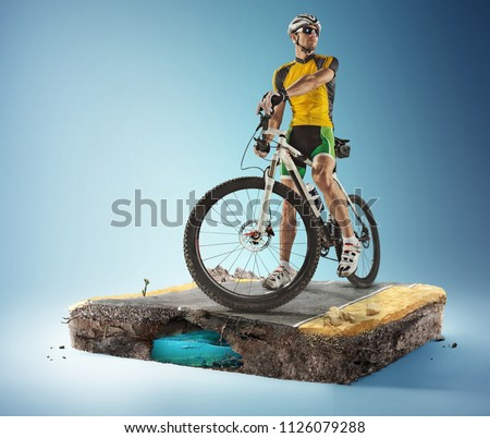 Travel and sports background. 3d illustration with cut of the ground and the desert road.  #1126079288