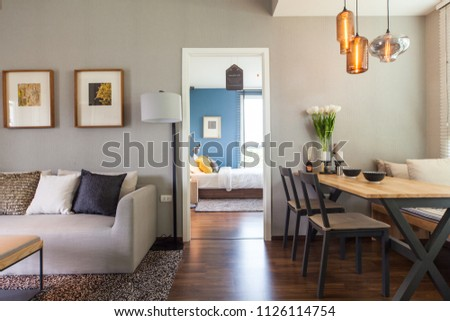 Bangkok, Thailand : 17 JUN 2015 - Modern Residence design with furniture and interior design setting before getting into the real estate market. #1126114754