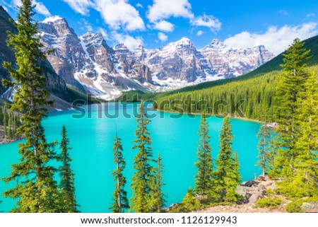 Beautiful view of Moraine Lake in Rocky Mountains - Banff National Park, Alberta - Canada #1126129943