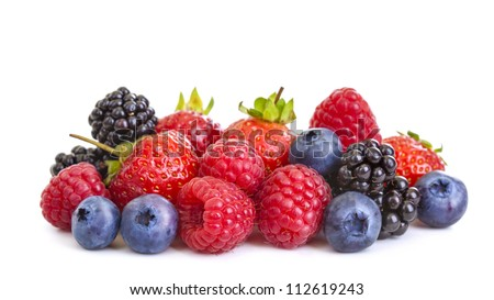 Group of berries isolated on white background Royalty-Free Stock Photo #112619243