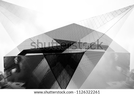 Collage of modern architecture fragments with angular structure. Abstract black and white architectural or industrial background with geometric shapes. #1126322261