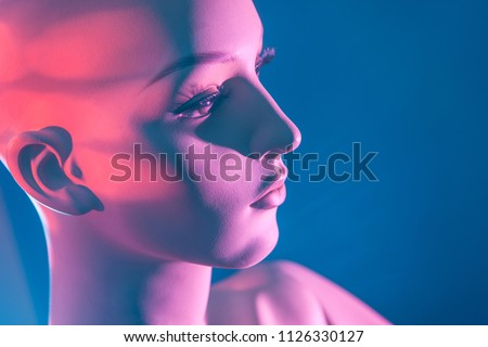 Female profile. Dummy. Bald woman. The nose and lips of the female face. dummy in profile. Fashion. #1126330127