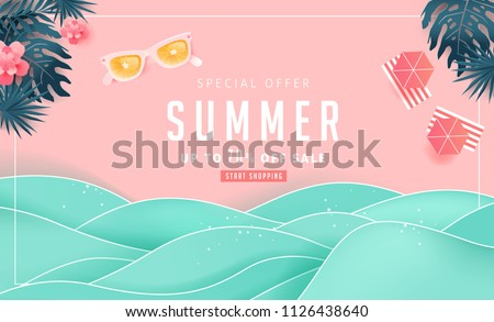 Summer sale design with paper cut tropical beach bright Color background layout banners .Orange sunglasses concept.voucher discount.Vector illustration template. Royalty-Free Stock Photo #1126438640