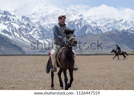 Drass, Kargil, J&K / India - 5/12/18 : Horse Polo is a native and traditional sport to Drass. It is recorded to be the second coldest inhabited place in the world.  #1126447559