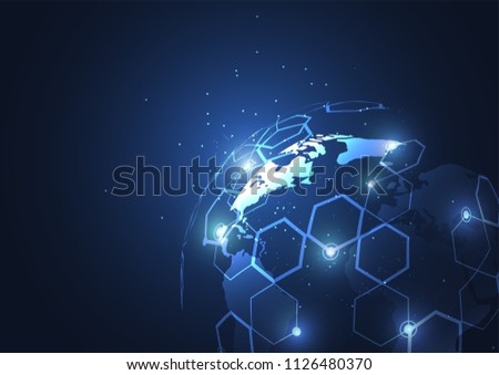 Global network connection. World map point and line composition concept of global business. Vector Illustration #1126480370
