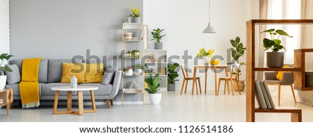 Real photo of a spacious living room interior with a sofa behind a table and next to a shelf, table with chairs in the background