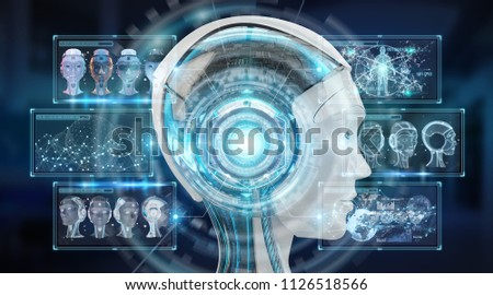 Digital artificial intelligence cyborg interface isolated on blue background 3D rendering #1126518566