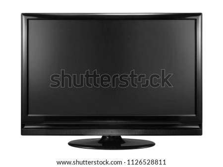 Blank flat screen TV set isolated on white background #1126528811