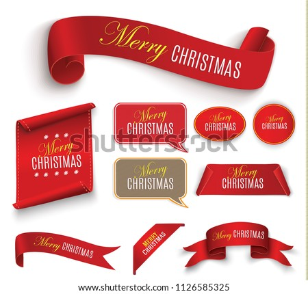 Scroll Red, Merry Christmas. realistic paper banners. Banner with a congratulation. Vector illustration. #1126585325