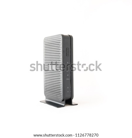 Studio shot of black wireless router cable modem isolated on white background. Front view with indicator lights #1126778270