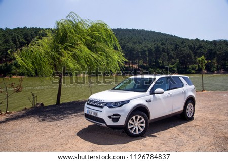 Istanbul/Turkey - June 24 2016 : Land Rover Discovery Sport is a high end subcompact luxury crossover SUV produced by British automotive company Jaguar Land Rover under their Land Rover marque. #1126784837