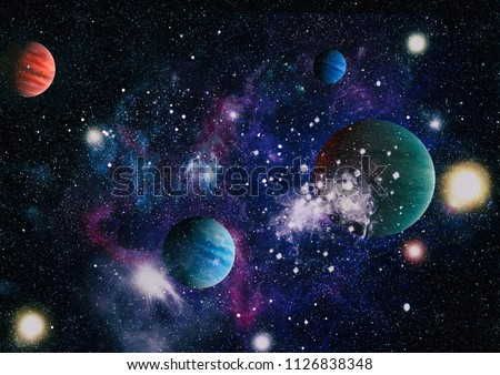 planets, stars and galaxies in outer space showing the beauty of space exploration. Elements furnished by NASA #1126838348