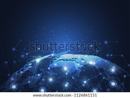 Global network connection. World map point and line composition concept of global business. Vector Illustration #1126861151