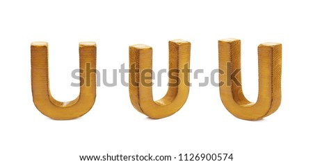 Single sawn wooden U letter symbol in different angles and foreshortenings isolated over the white background