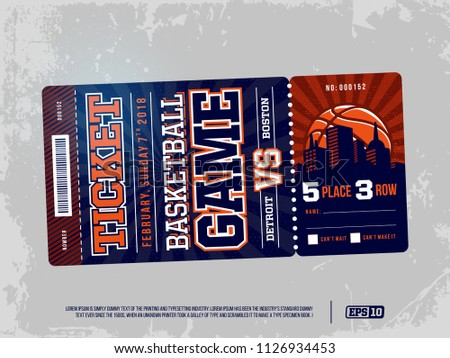 Modern professional design of basketball tickets in blue theme.