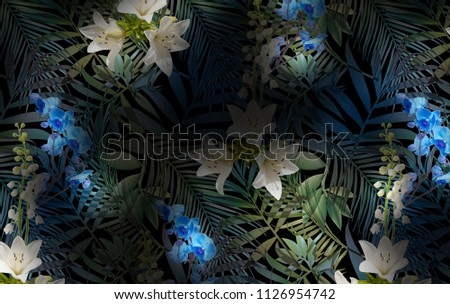 Tropical flowers fabric pattern, palm leafs #1126954742