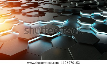 Black blue and orange abstract hexagons background pattern 3D rendering