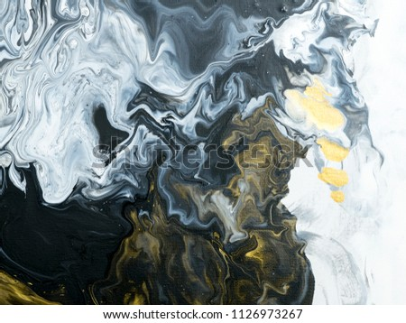 Black and white with gold marble abstract hand painted background, close-up of acrylic painting on canvas. Contemporary art. #1126973267