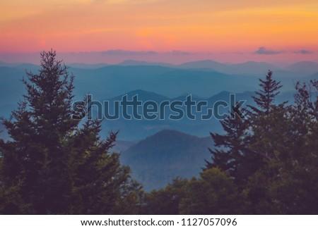 Sunset on the Blue Ridge Mountains in North Carolina #1127057096