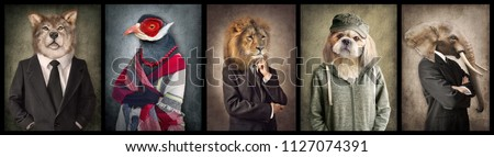 Animals in clothes. Concept graphic in vintage style. Wolf, Bird, Lion, Dog, Elephant. #1127074391