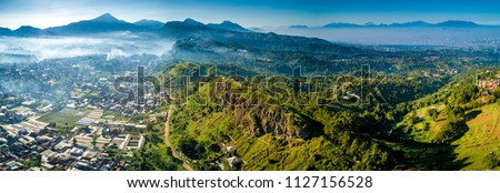 PANORAMA, Panoramic Aerial View of Historic Geological Formation of Lembang Fault, Bandung, West Java, Indonesia, Asia Royalty-Free Stock Photo #1127156528