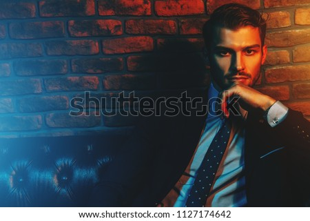 Respectable handsome man in elegant suit sitting in apartments with classical luxurious interior. Men's beauty, fashion. #1127174642