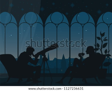 Watching stars at home. Illustration of interior of room with two armchairs, man looking through telescope, woman with cup of tea, panoramic view from arched windows to night starry sky of town. #1127236631