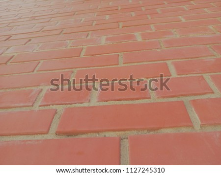 Stone texture. Bright brick. A huge wall. Background. #1127245310