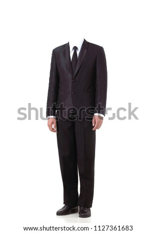 Man in suit without head isolated on white  Royalty-Free Stock Photo #1127361683