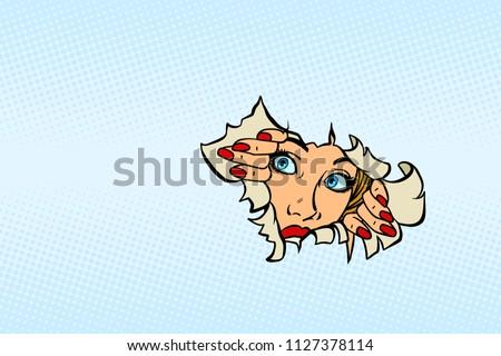 woman looking through torn paper background. Comic cartoon pop art retro vector illustration drawing
